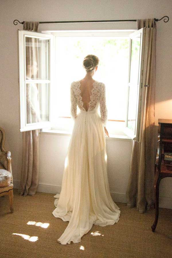 White A Line Sweep Train Long Sleeve Open Back Lace Wedding Gown,Cheap Wedding Dress