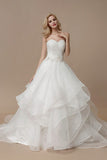 White A Line Court Train Sweetheart Sleeveless Ruffles Wedding Dress,Wedding Gowns