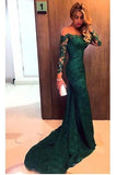 Green Sheath Court Train Long Sleeve Off Shoulder Zipper Back Lace Prom Dress,Party Dress