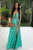 Green A Line Floor Length Deep V Neck Sleeveless Side Slit Prom Dress,Party Dress