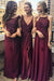 Burgundy A Line Floor Length Sleeveless Appliques Beading Cheap Bridesmaid Dresses B200