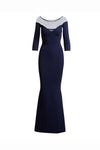 Blue Trumpet Floor Length Long Sleeves Bateau Neck Mother of the Bride Dresses M21 - Ombreprom