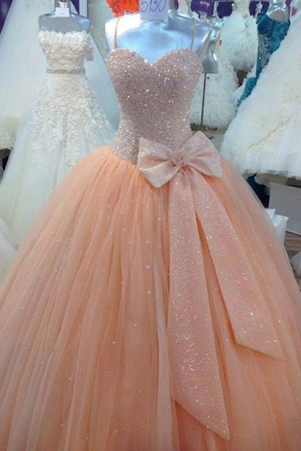 Pink Ball Gown Floor Length Sweetheart Spaghetti Beading Long Prom Dress,Party Dress