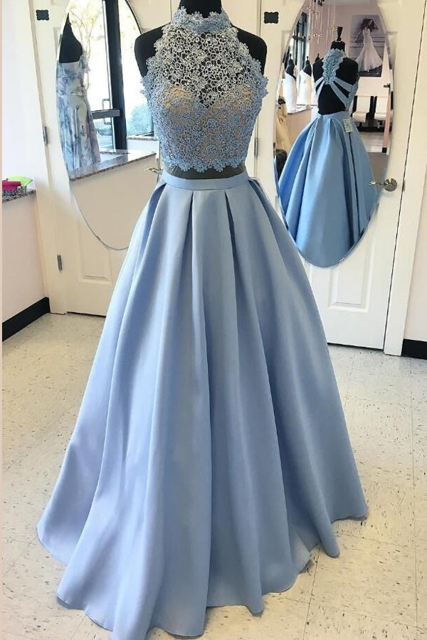 Blue Two Piece A Line Halter Sleeveless Open Back Appliques Evening/Prom Dress P77 - Ombreprom