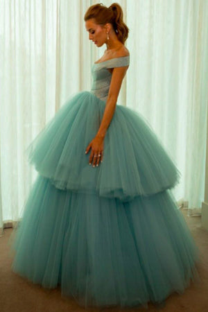 Blue Ball Gown Floor Length Off Shoulder Layers Tulle Princess Prom Dress,Formal Dress P308 - Ombreprom