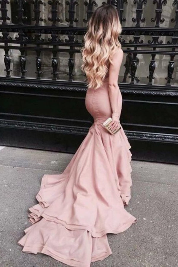 Pink Mermaid Court Train Straight Neck Sleeveless Ruffles Prom Dress,Party Dress