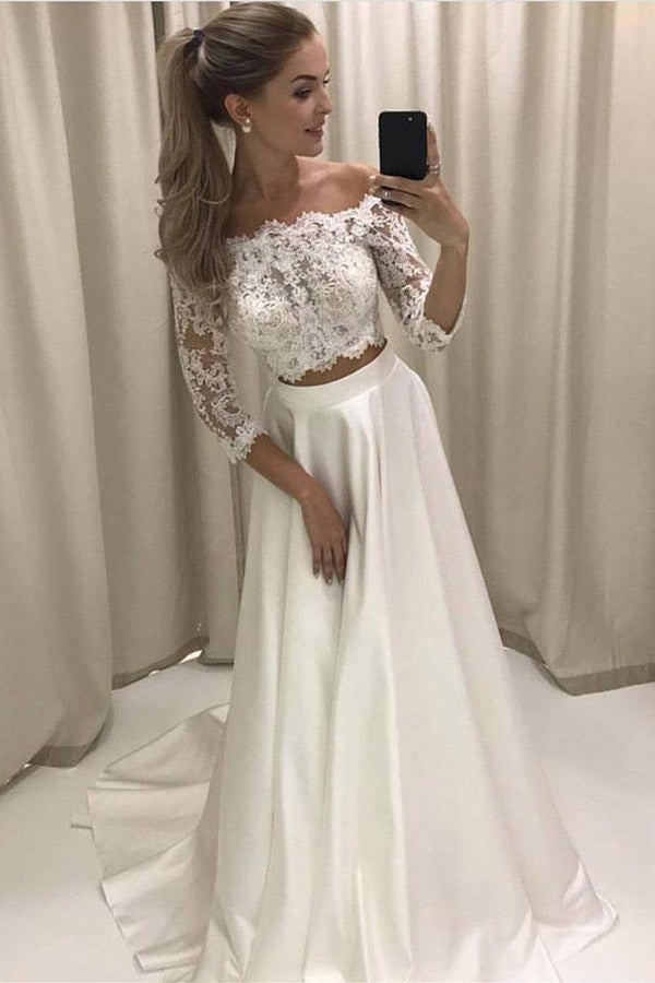White Two Piece A Line Brush Train 3/4 Sleeve Lace Wedding Dress,Beach Wedding Dress
