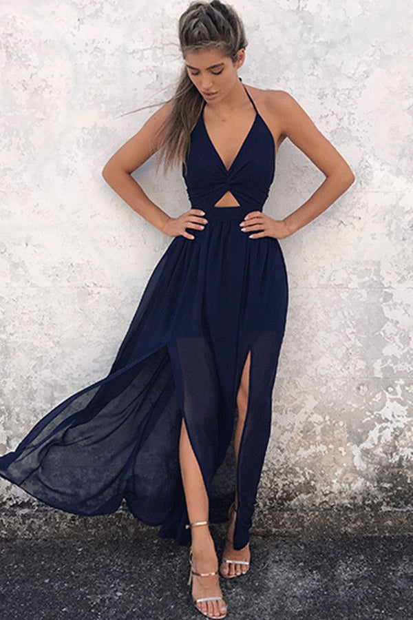 Navy Blue A Line Floor Length Halter Sleeveless Backless Side Slit Prom Dress,Evening Dress