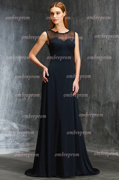 Blakc A Line Sweep Train Sheer Neck Sleeveless Open Back Chiffon Prom Dress,Party Dress P325 - Ombreprom