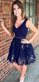 Elegant A Line V Neck With Lace Appliques Homecoming Dress M562