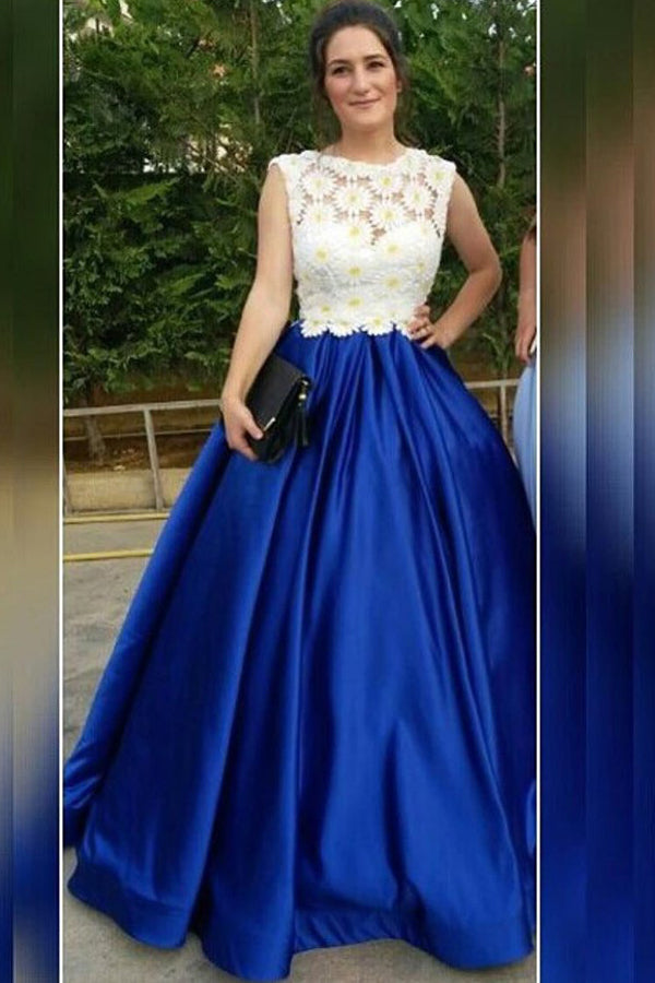 Royal Blue A Line Floor Length Scoop Neck Sleeveless Floral Long Prom Dress,Party Dress P235 - Ombreprom