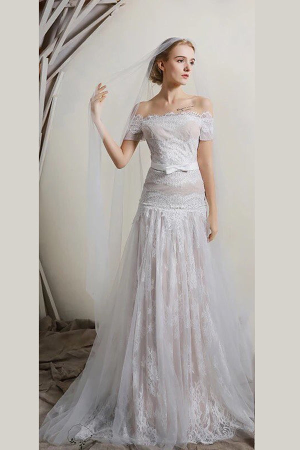 White A Line Brush Train Off Shoulder Short Sleeves Lace Wedding Dress,Beach Wedding Dress