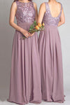 A Line Floor Length Jewel Neck Sleeveless Open Back Appliques Cheap Bridesmaid Dress B213 - Ombreprom