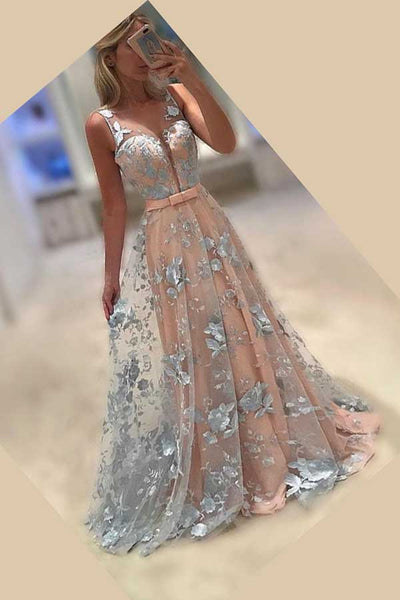 A Line Sweep Train Deep V Neck Sleeveless Lace Appliques Prom Dress,Evening Dress P90 - Ombreprom