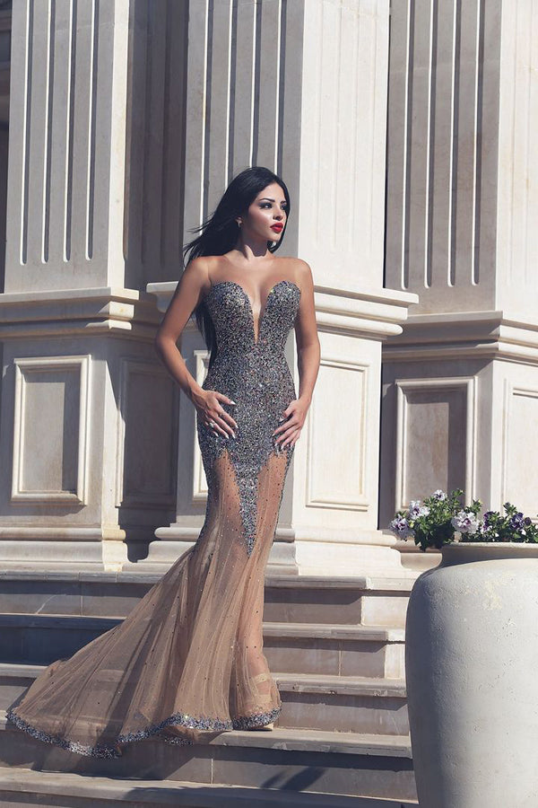 Vintage Trumpet Sweep Train Sheer Neck Sleeveless Beading Long Prom Dress,Party Dress P186