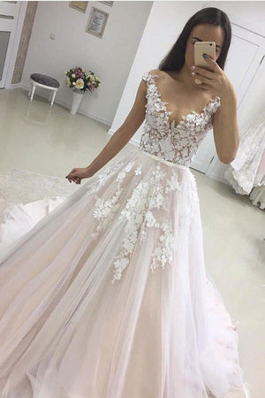 Pink A Line Court Train Deep V Neck Sleeveless Layers Appliques Wedding Dress,Wedding Gowns
