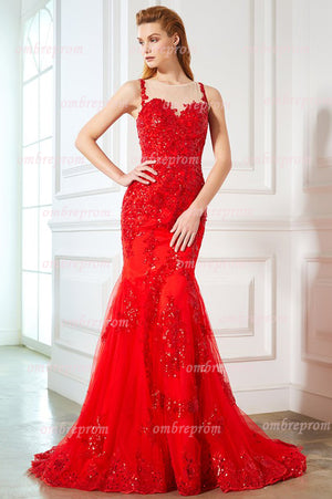 Red Sheath Sweep Train Sheer Neck Sheer Back Applilques Beading Prom Dress,Party Dress