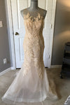 Trumpet Court Train Sheer Neck Sleeveless Appliques Wedding Gown,Cheap Wedding Dress