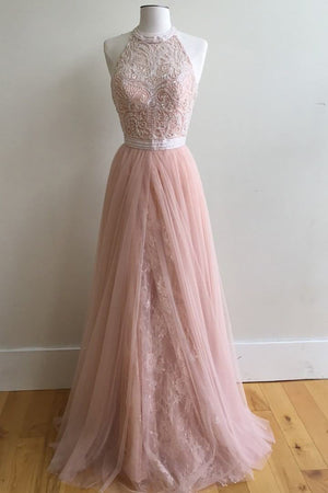 Pink A Line Floor Length Sleeveless Halter Appliques Tulle Prom Dress,Evening Dress P250 - Ombreprom