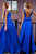 Blue A Line Deep V Back Sleeveless Bowknot Cheap Prom Dress,Formal Dress P263 - Ombreprom