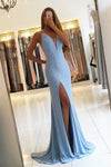 Blue Sheath Sweep Train Deep V Neck Sleeveless Backless Side Slit Prom Dress P88 - Ombreprom