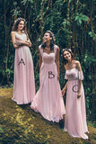 Pink A Line Floor Length Sweetheart Chiffon Bridesmaid Dress, Wedding Party Dress B338 - Ombreprom
