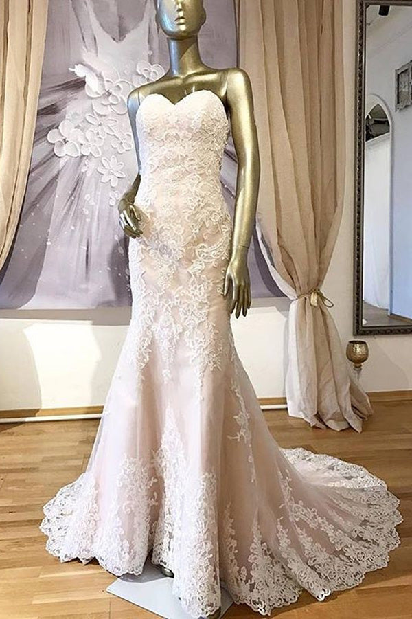 Pink Mermaid Court Train Sweetheart Sleeveless Beading Appliques Wedding Gowns,Wedding Dress W249 - Ombreprom