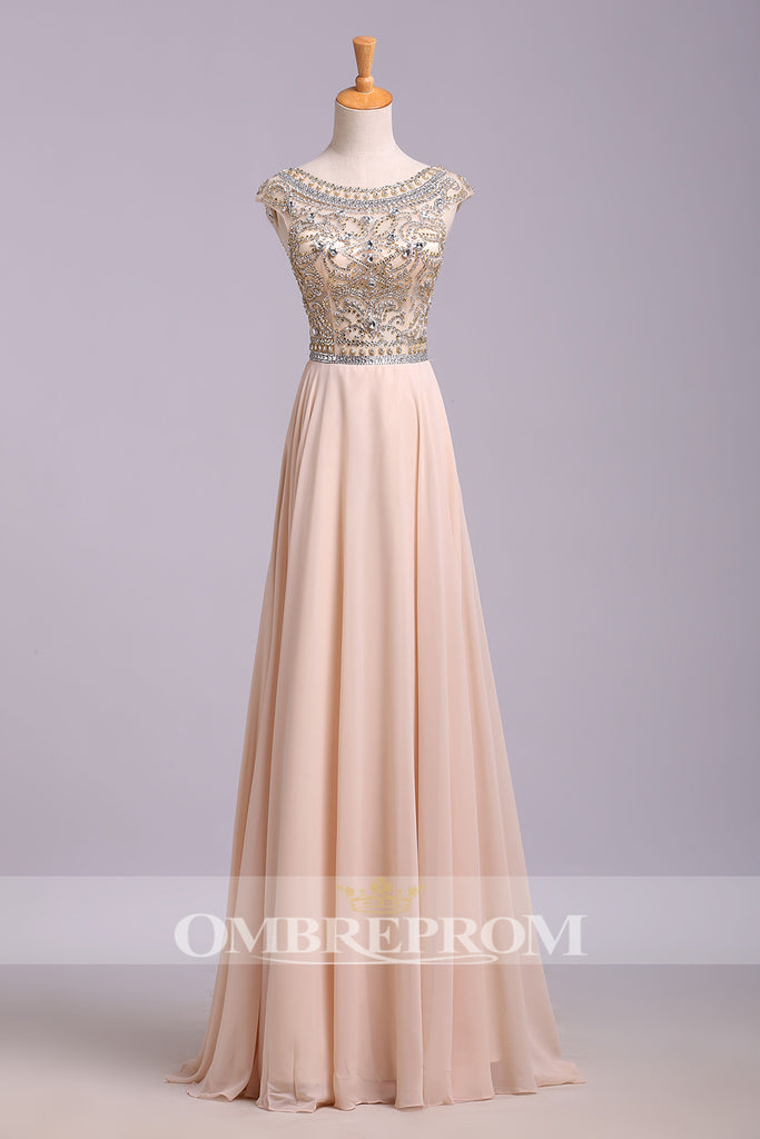 Stunning Round Neck Tulle Cap Sleeves Beaded Floor Length Party Dress Prom Dress P761