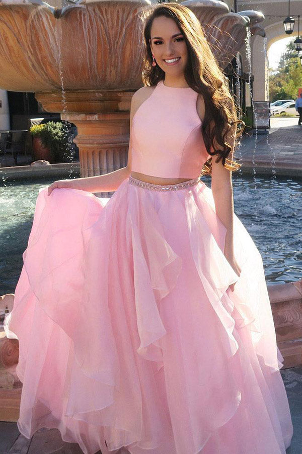 Pink Two Piece A Line Floor Length Sleeveless Ruffles Beading Prom Dress,Party Dress