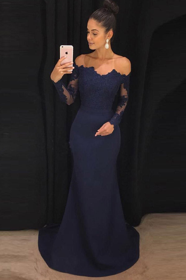 Brush Trumpet Brush Train Off Shoulder Long Sleeve Lace Bridesmaid Dress, Wedding Party Dress B329 - Ombreprom