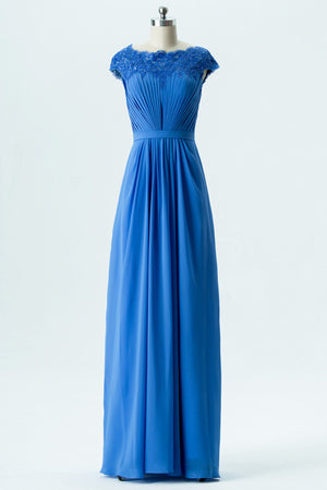 Blue A Line Floor Length Scoop Capped Sleeve Lace Appliques Cheap Bridesmaid Dresses B152 - Ombreprom