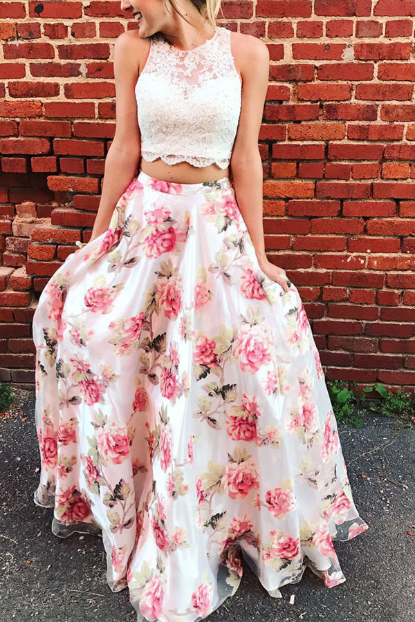 Two Piece A Line Floor Length Strapless Sleeveless Lace Prom Dress,Party Dress