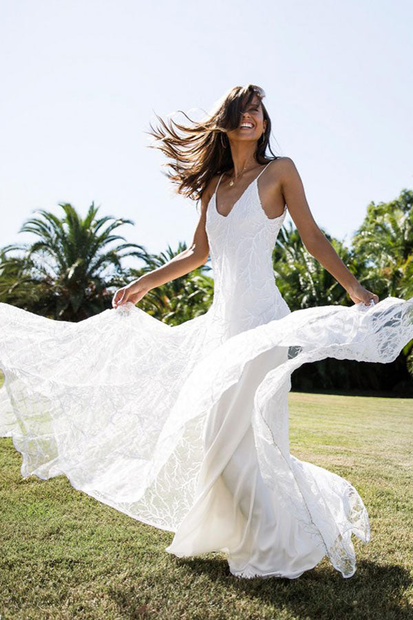 White A Line Brush Train Spaghetti Sleeveless Backless Lace Wedding Dress,Beach Wedding Dress