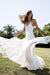 White A Line Brush Train Spaghetti Sleeveless Backless Lace Wedding Dress,Beach Wedding Dress W230