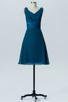 Winter Teal A Line Knee Length V Neck Sleeveless Cheap Bridesmaid Dresses