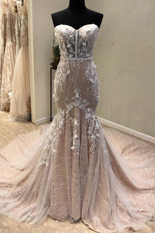 Trumpet Court Train Sweetheart Sleeveless Lace Up Appliques Prom Dress,Party Dress