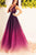 Ombre A Line Court Train Deep V Neck Sleeveless Prom Dress,Party Dress