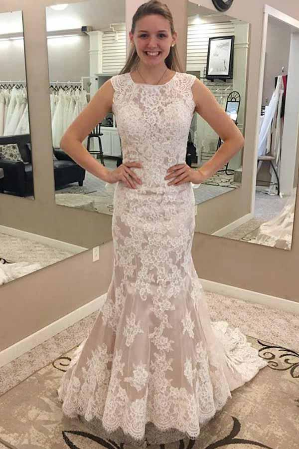 Cheap Mermaid Round Neck Sleeves Lace Appliques Sweep Train Wedding Dresses W456