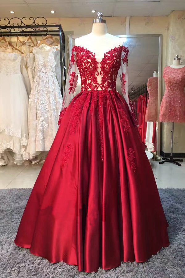 Red Ball Gown Floor Length Off Shoulder Long Sleeve Appliques Vintage Prom Dress,Formal Dress