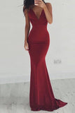Burgundy Sheath Brush Train Deep V Neck Sleeveless Backless Prom Dress,Party Dress P502 - Ombreprom