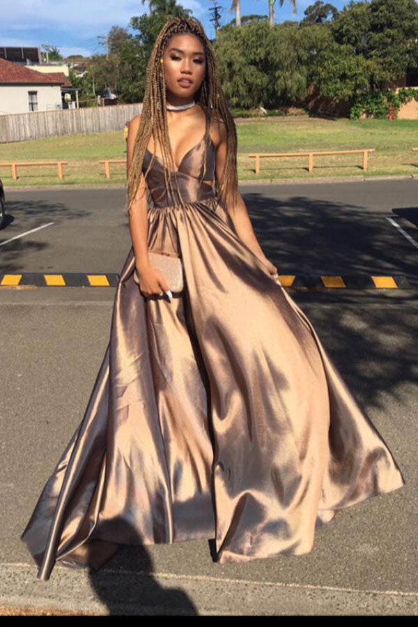 Gold A Line Floor Length Deep V Neck Sleeveless Open Back Prom Dress,Party Dress