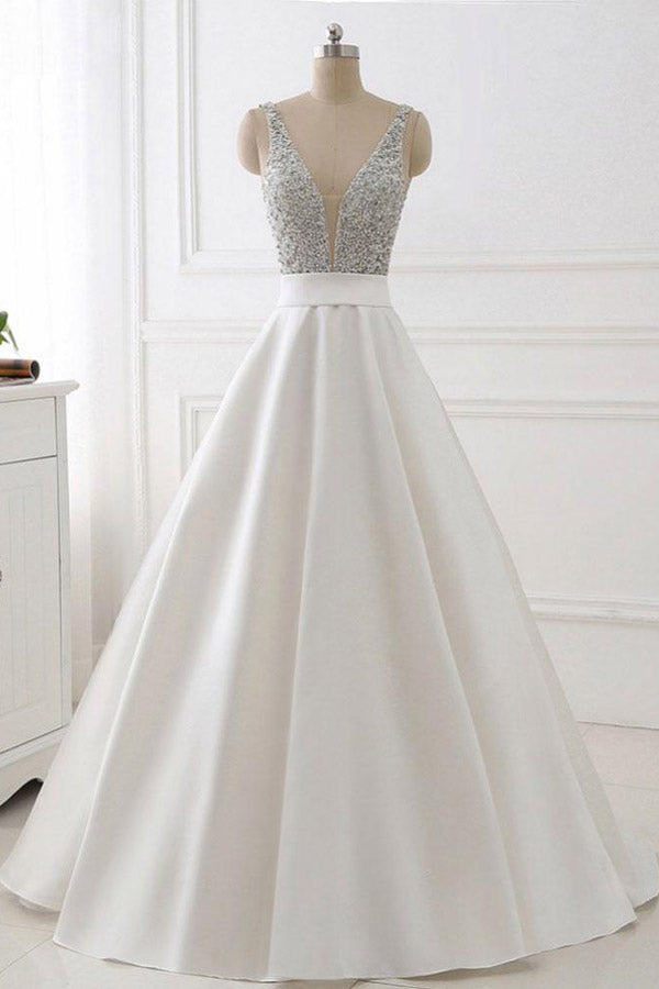 White A Line Brush Train Deep V Neck Sleeveless Beading Prom Dress,Party Dress