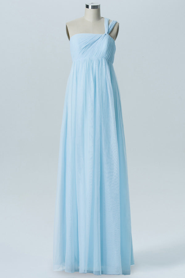 Pastel Blue A Line Floor Length Straight Nack Sleeveless Open Back Cheap Bridesmaid Dresses