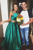 Green Two Piece A Line Sweep Train Sleeveless Mid Back Prom Dress,Party Dress P125