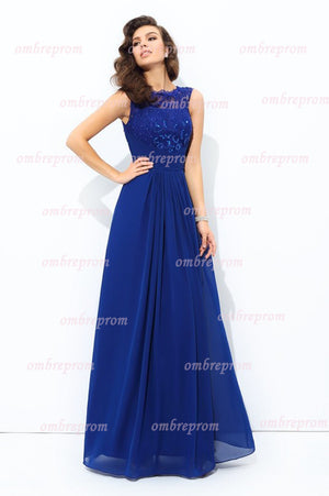 Blue A Line Floor Length Jewel Neck Sleeveless Appliques Chiffon Prom Dress,Party Dress P316 - Ombreprom