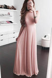 Pink A Line Floor Length Sleeveless Chiffon Prom Dress,Party Dress P444 - Ombreprom