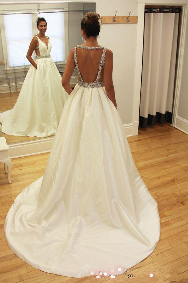 White A Line Court Train Sleeveless Backless Beading Wedding Gowns Cheap Wedding Dress