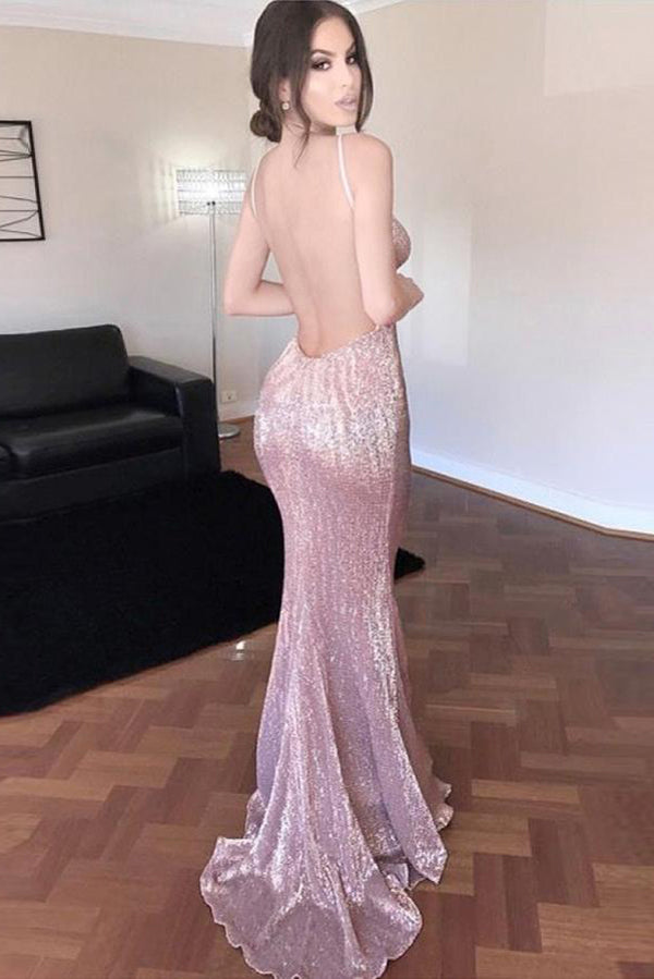 Pink Sheath Sweep Train Deep V Neck Sleeveless Backless Sparkle Long Prom Dress,Party Dress