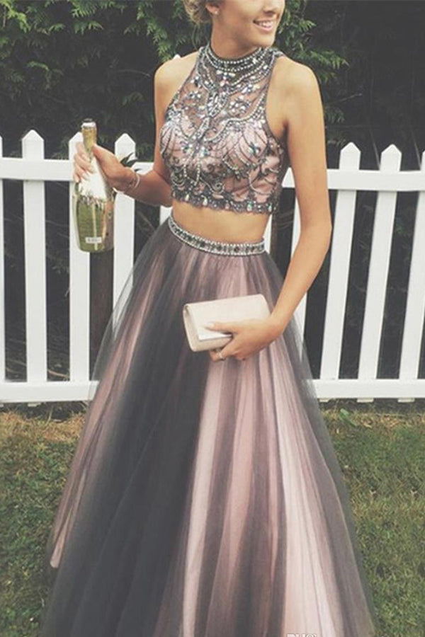 Two Piece A Line Halter Sleeveless Keyhole Back Beading Evening/Prom Dress