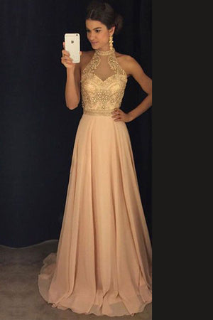 Pink A Line Sweep Train Halter Sleeveless Beading Prom Dress,Party Dress